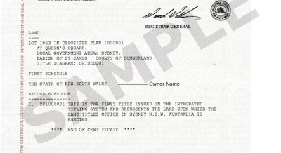 What is a Certificate of Title NSW